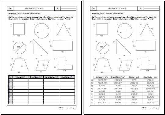 Mathematik & Geometrie | Arbeitsblatt Prisma Zylinder Körper | 8500 ...