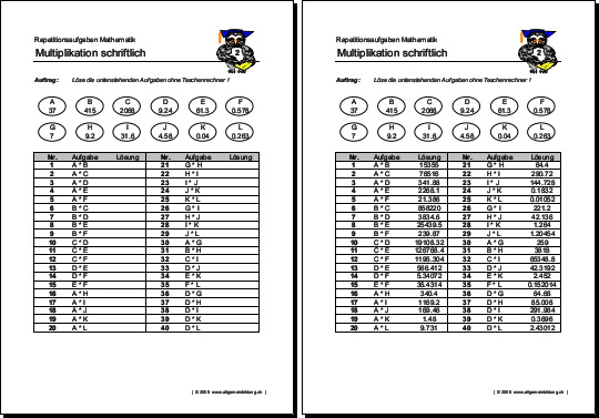 Mathematik & Geometrie | Arbeitsblatt Multiplikation | 8500 Übungen ...