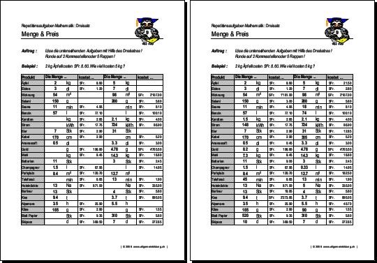 Mathematik & Geometrie | Arbeitsblatt Dreisatz Menge & Preis | 8500 ...