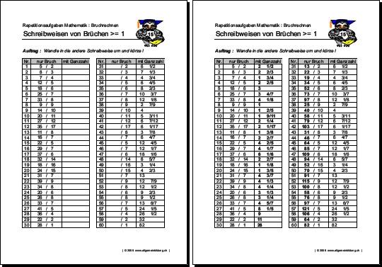 Mathematik & Geometrie | Arbeitsblatt unechte Brüche | 8500 Übungen ...
