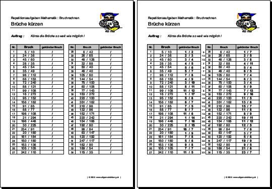 Mathematik & Geometrie | Arbeitsblatt Brüche kürzen | 8500 Übungen ...