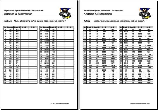 Arbeitsblätter Mathematik Mittelschule : Mathematik geometrie arbeitsblatt brüche addieren
