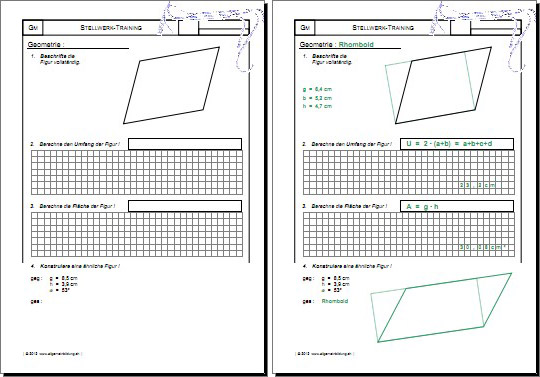 mathematik geometrie arbeitsblatt stellwerk check test training rhomboid 8500 bungen. Black Bedroom Furniture Sets. Home Design Ideas