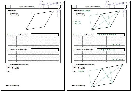 mathematik geometrie arbeitsblatt stellwerk check test training rhombus 8500 bungen. Black Bedroom Furniture Sets. Home Design Ideas