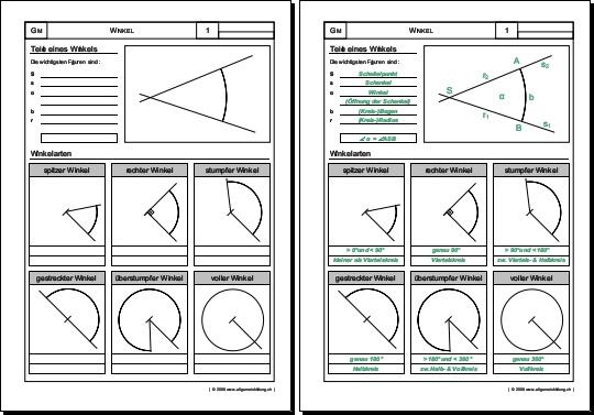 Mathematik & Geometrie | Arbeitsblatt Winkel Teile & Winkelarten ...