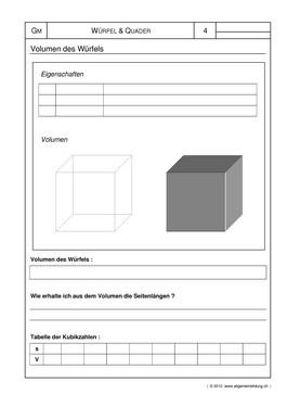 Mathematik & Geometrie | Arbeitsblatt Würfel Quader Körper | 8500 ...