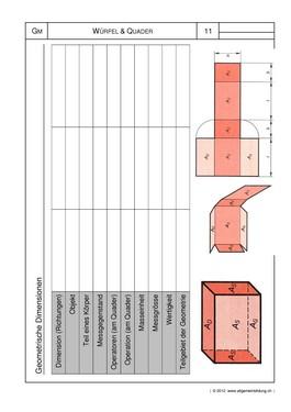 Mathematik & Geometrie   Arbeitsblatt Würfel Quader Körper   8500 ...