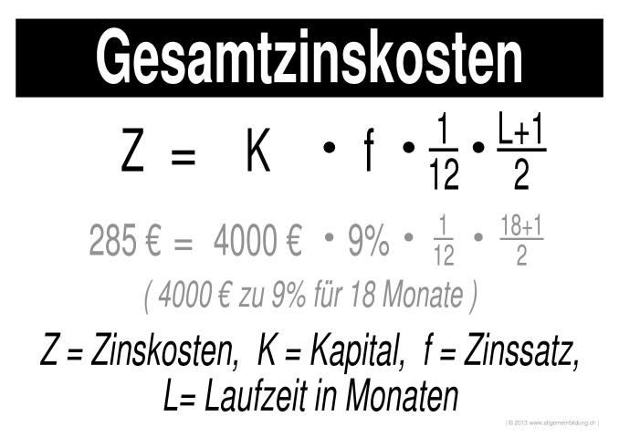 Mathematik & Geometrie | LernPlakate Wissensposter Gesamtzinskosten ...