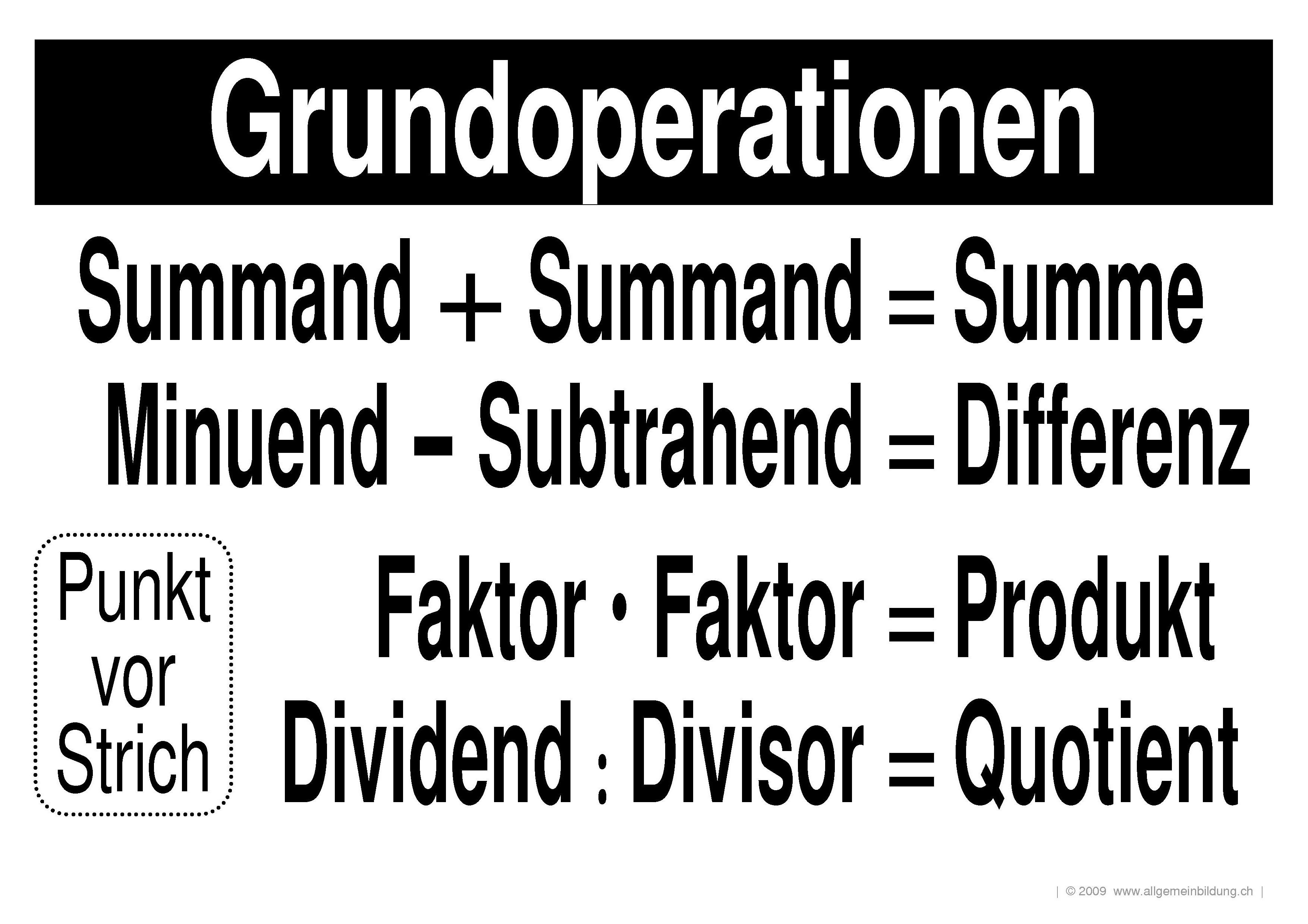 Mathematik & Geometrie | LernPlakate Wissensposter Grundoperationen ...