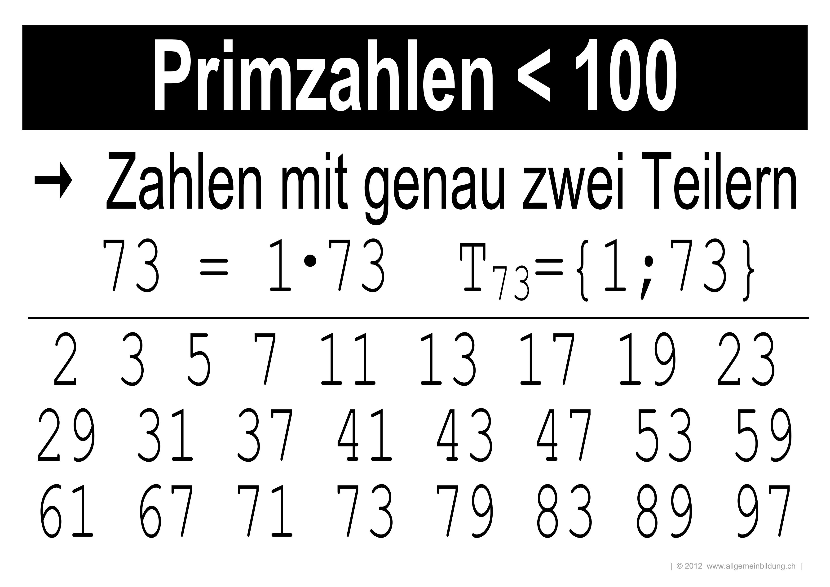 Mathematik & Geometrie | LernPlakate Wissensposter Primzahlen < 100 ...