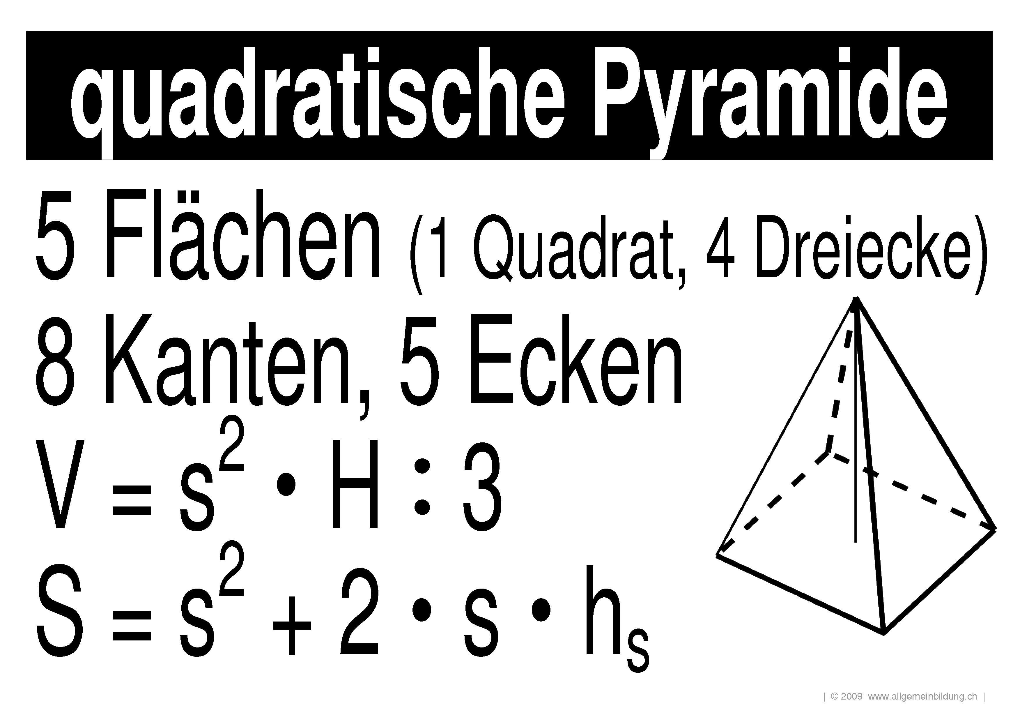 mathematik geometrie lernplakate wissensposter quadratische pyramide 8500 bungen. Black Bedroom Furniture Sets. Home Design Ideas