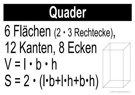 Mathematik & Geometrie   LernPlakate Wissensposter Quader   8500 ...