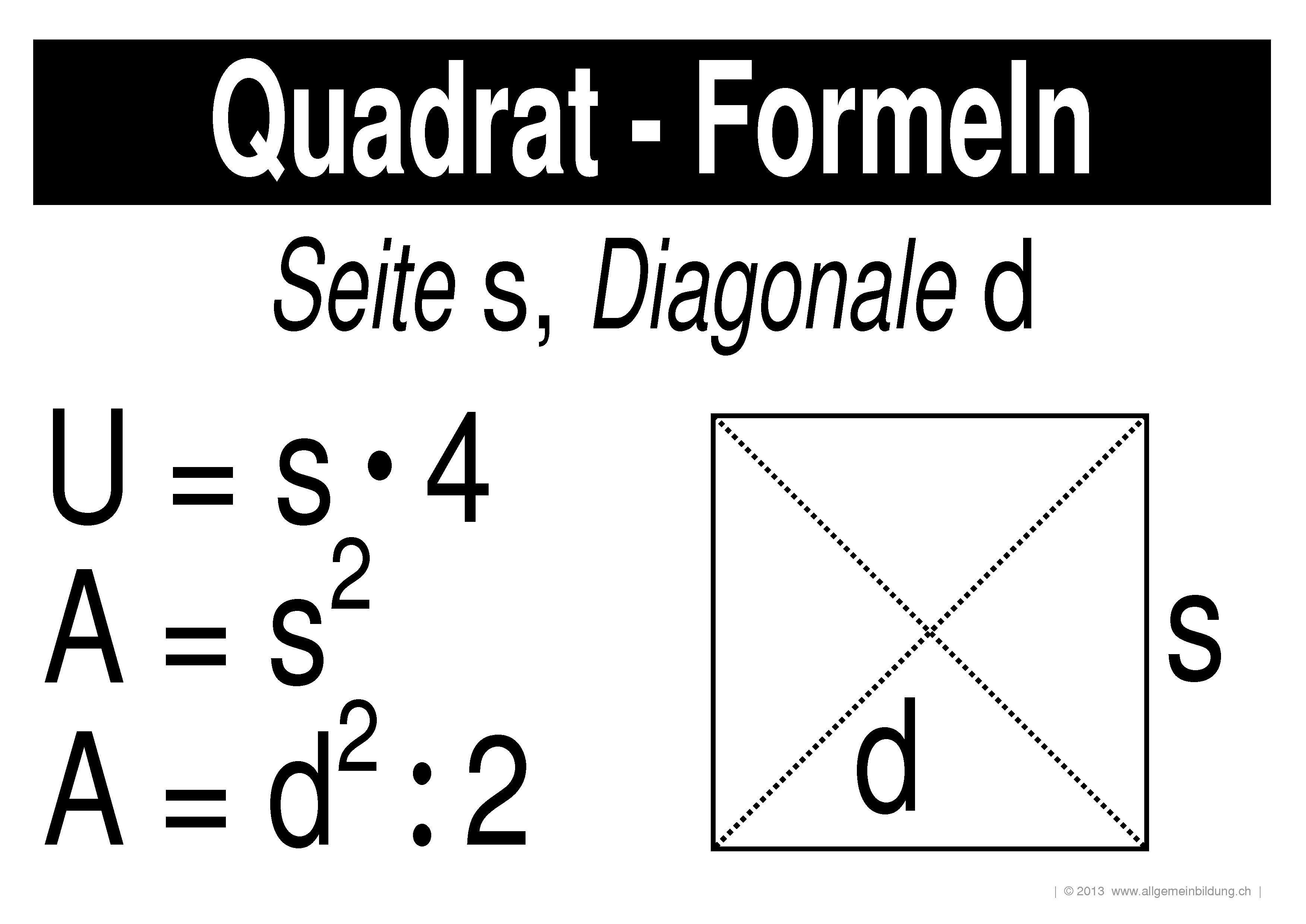 mathematik geometrie lernplakate wissensposter quadrat formeln 8500 bungen. Black Bedroom Furniture Sets. Home Design Ideas