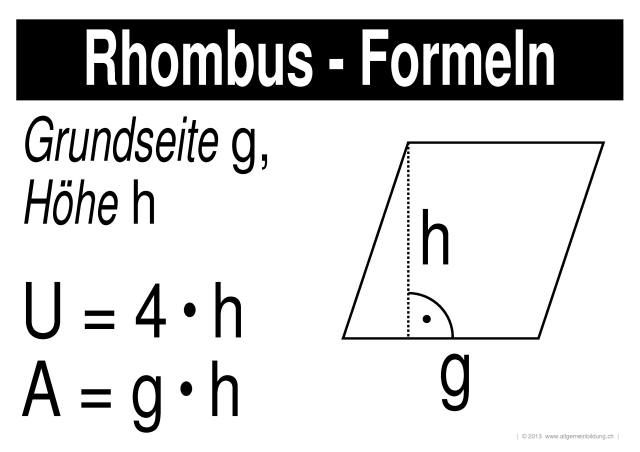 mathematik geometrie lernplakate wissensposter rhombus formeln 8500 bungen. Black Bedroom Furniture Sets. Home Design Ideas