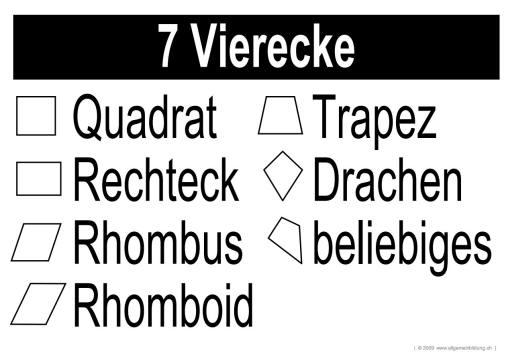 Mathematik & Geometrie   LernPlakate Wissensposter Vierecke   8500 ...