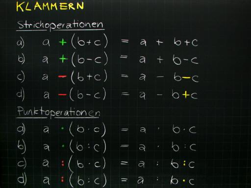 Mathematik & Geometrie | Tafelbilder Grundoperationen Klammerregeln ...
