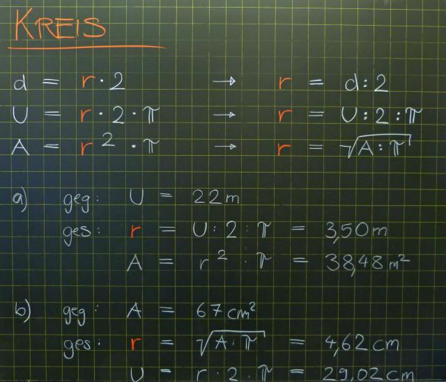 Mathematik & Geometrie | Tafelbilder Kreis Berechnung | 8500 Übungen ...