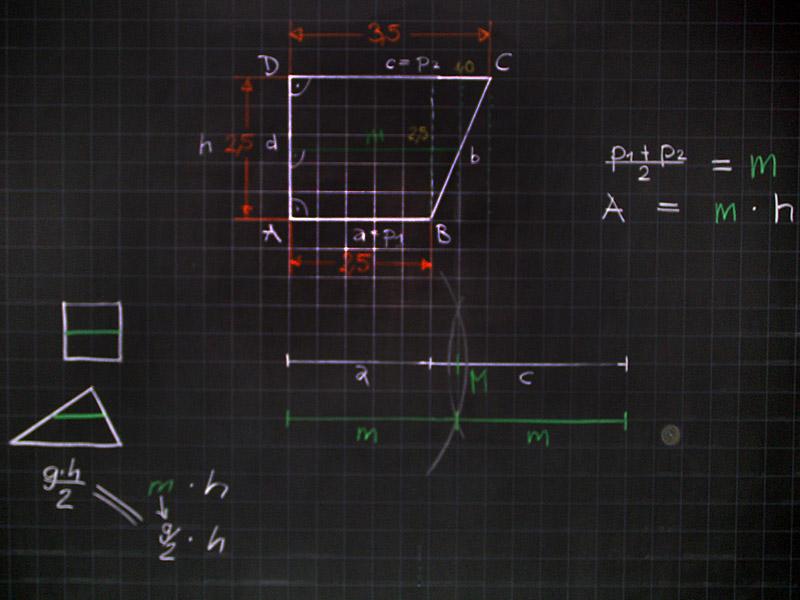Mathematik & Geometrie | Tafelbilder Trapez Mittellinie Parallelen ...