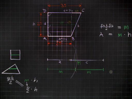 Mathematik & Geometrie   Tafelbilder Trapez Mittellinie Parallelen ...
