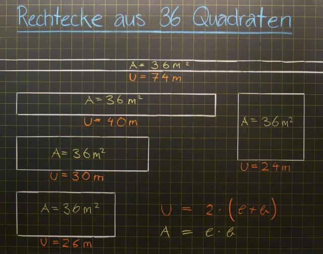 Mathematik & Geometrie | Tafelbilder Umfang Fläche Rechteck Quadrat ...