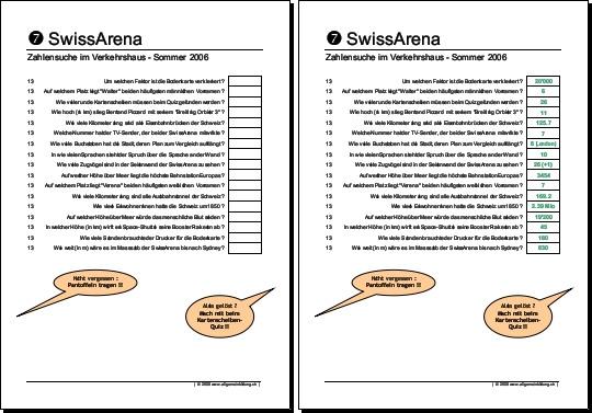 Physik | Arbeitsblatt Verkehrshaus Luzern SwissArena | 8500 Übungen ...