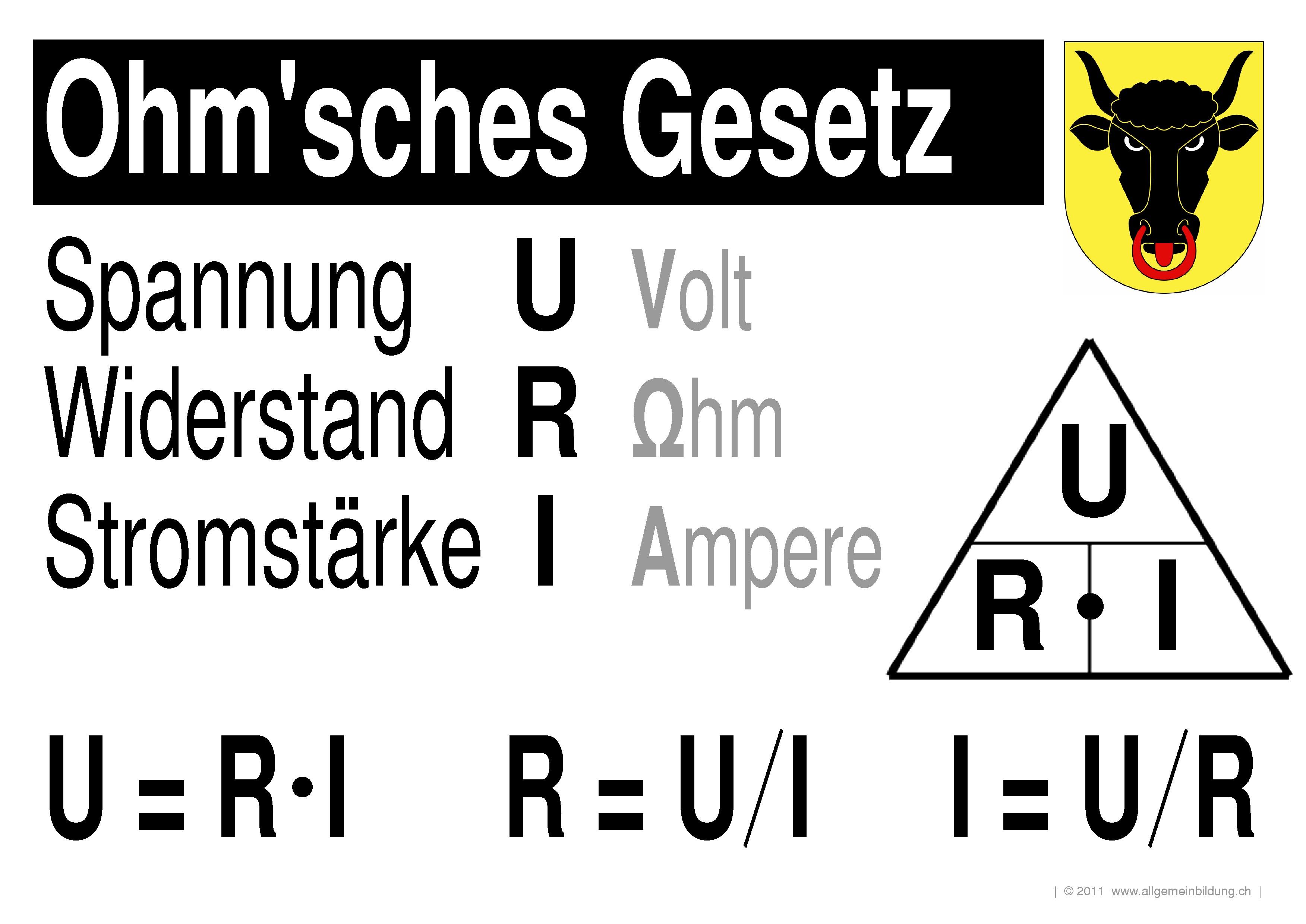 Physik lernplakate wissensposter ohm 39 sches gesetz 8500 for Larmbelastigung gesetz schweiz