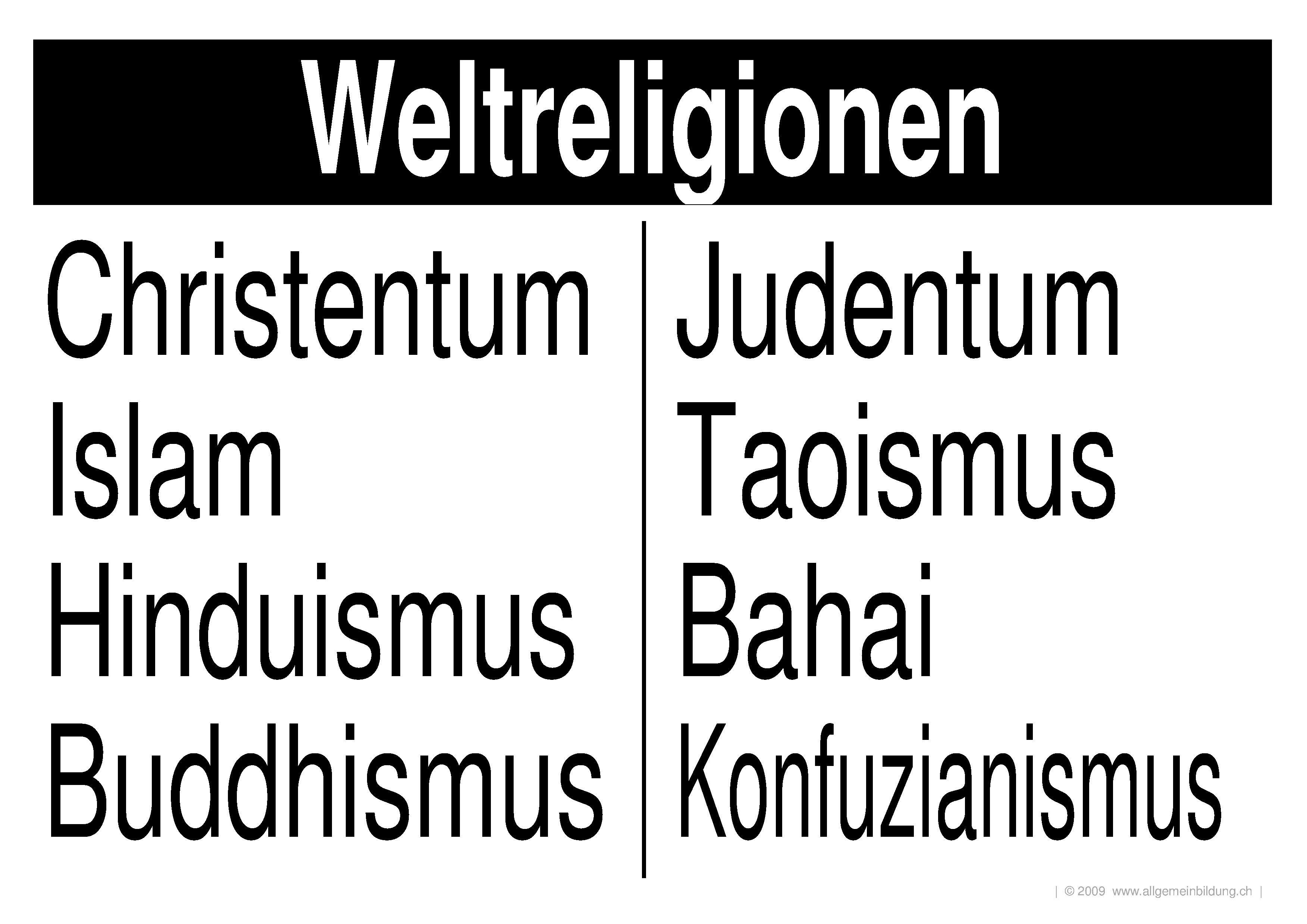 Religion & Mythologie | LernPlakate Wissensposter Weltreligionen ...